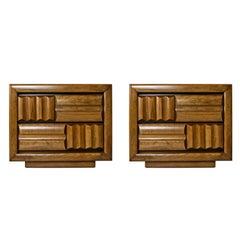 Midcentury Brutalist Oak Nightstand End Tables, Carved Wood Drawer Fronts