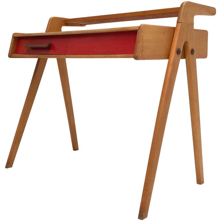 Dutch Mid-Century Modern Solid Birch Vanity Desk by Everest Furniture, 1950s For Sale