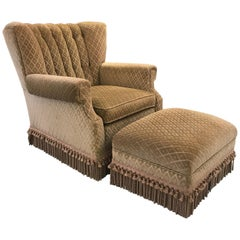 Decorator Club Chair and Ottoman by Swaim