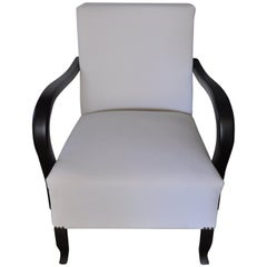 Art Deco White Armchair, circa 1920s