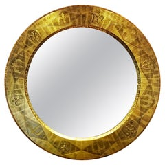 Large Circular Early Isabel Tennant 23-Carat Gold Leaf Mirror