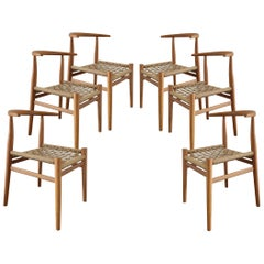 Set of 6 Nguni Dining Chairs in Iroko with Canvas Crosshatch Weave