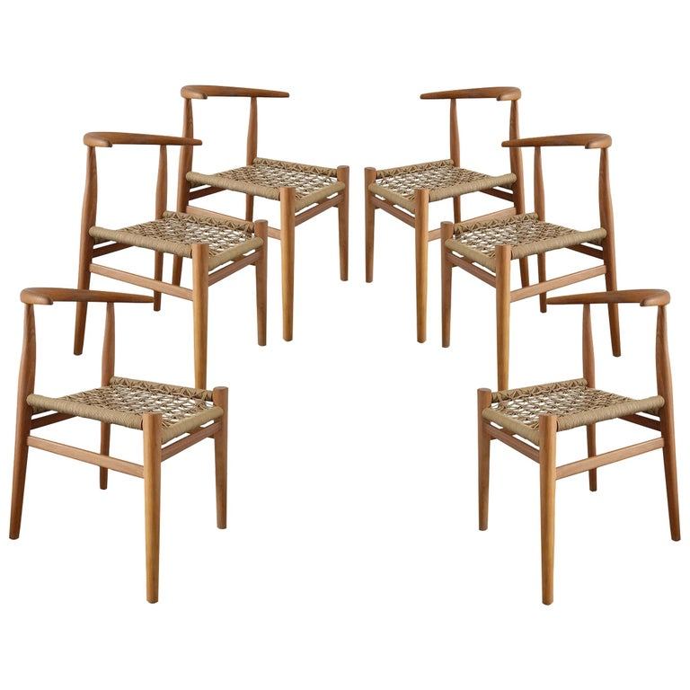 Set of 6 Nguni Dining Chairs in Iroko with Canvas Crosshatch Weave For Sale