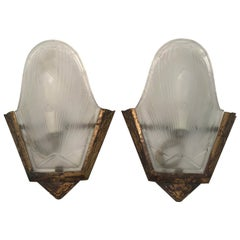 Pair of French Art Deco Bronze and Frosted Glass Wall Sconces
