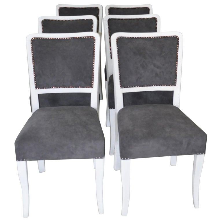Art Deco Dining Chairs, Set of 6 For Sale