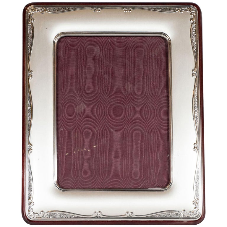 Mid-Century Modern Sterling Silver Picture Frame with Mahogany Back by Sovrani For Sale