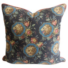 Square Throw Pillow in Gucci Lion Fabric