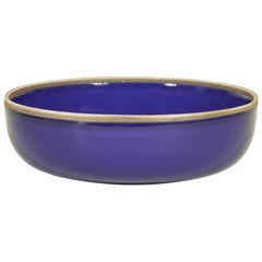 Large Indigo Glazed Hermit Bowl with Rustic Rim