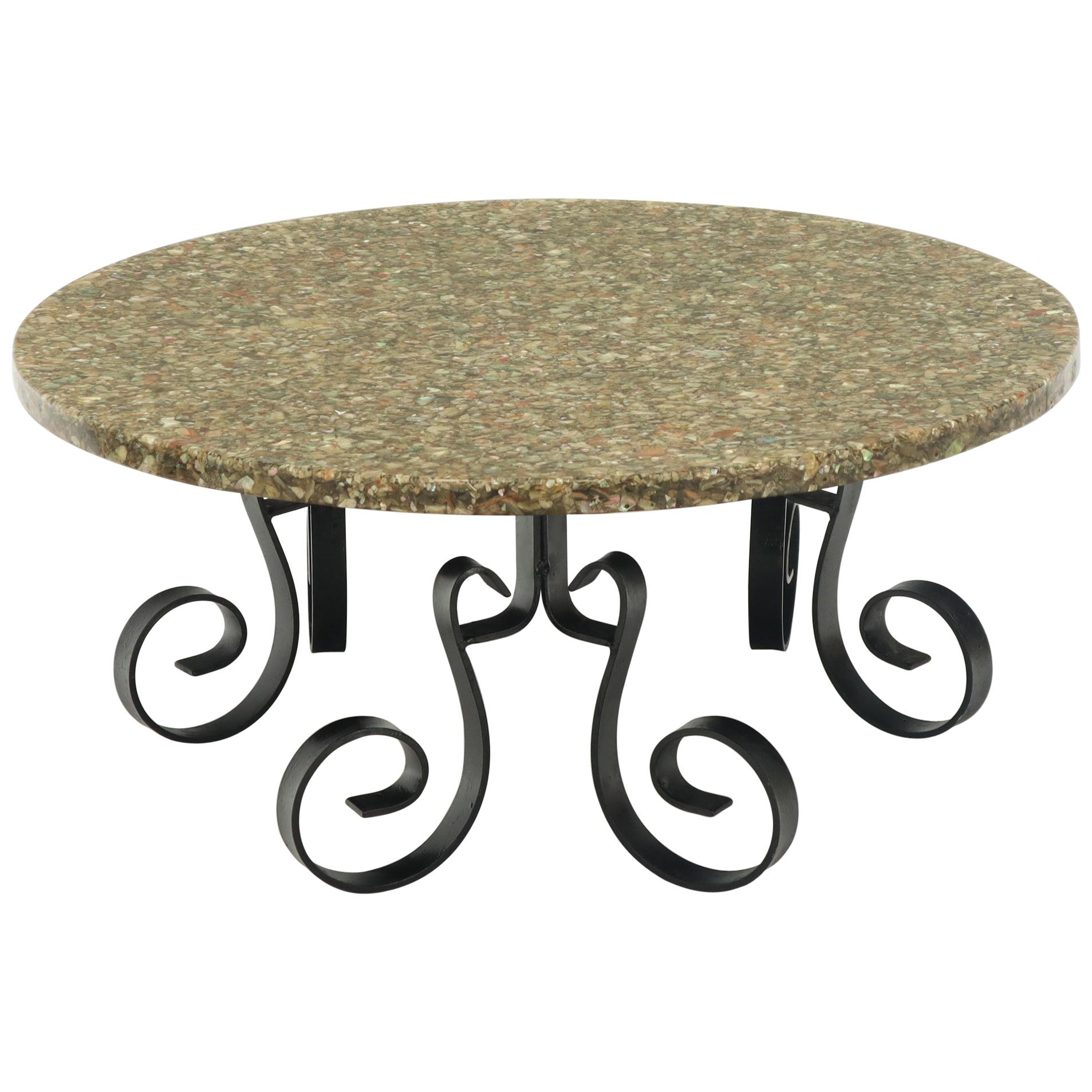 Wrought Iron Base Abalone Composite Round Top Coffee Table