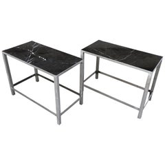 Pair of Custom-Made Marble and Steel End Tables