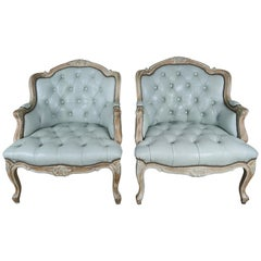 French Painted Louis XV Style Leather Tufted Bergeres, Pair