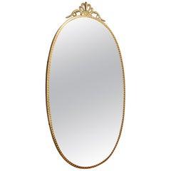 Italian Midcentury Brass Wall Mirror, 1950s