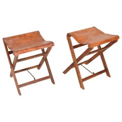 Antique Decorative Leather and Mahogany Folding Wood Stools