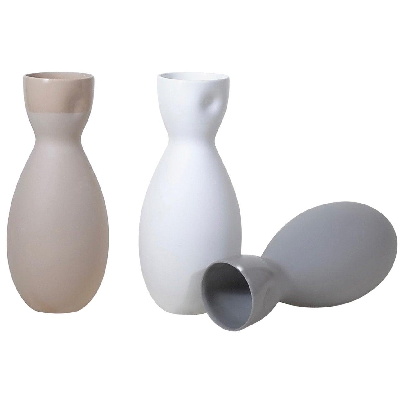 Dimpled Porcelain Carafe in Matte Bisque