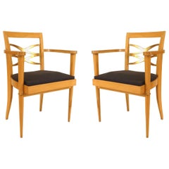 Pair of French 1940s Sycamore Armchairs, Attributed to Batistin Spade