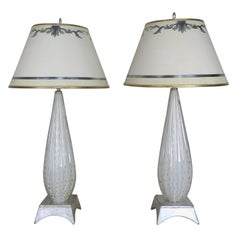 Pair of White Murano Glass Lamps with Parchment Shades