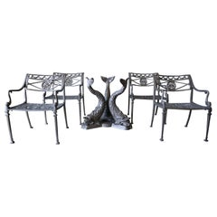 Neoclassical Metal Dolphin Patio Set