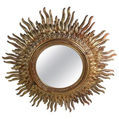 Large Decorative Sunburst Starburst Mirror with Cast Plastic Frame