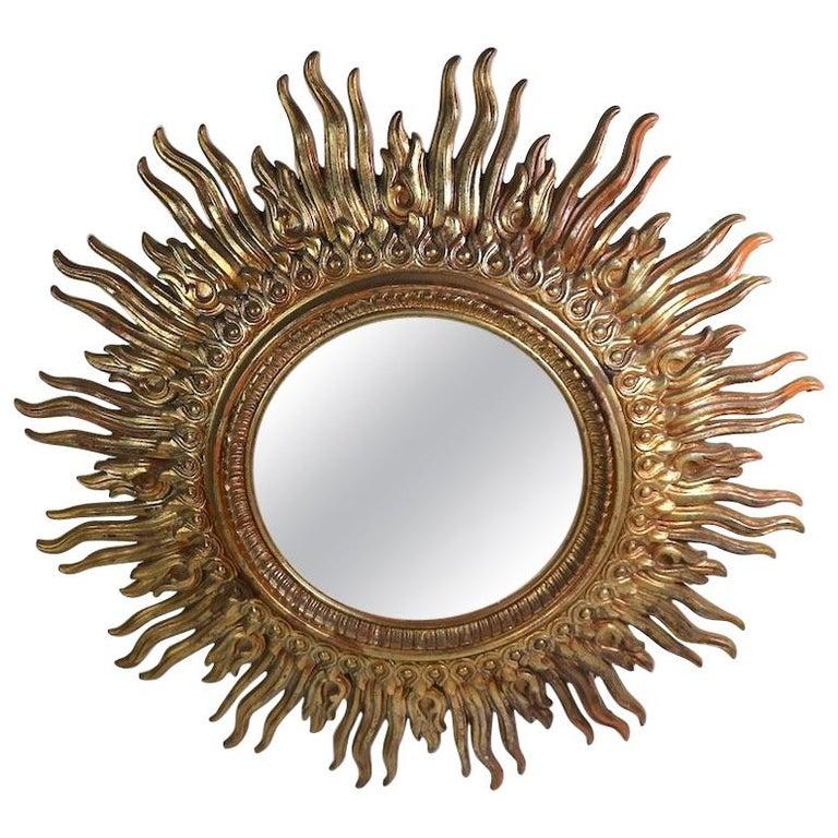 Large Decorative Sunburst Starburst Mirror with Cast Plastic Frame For Sale