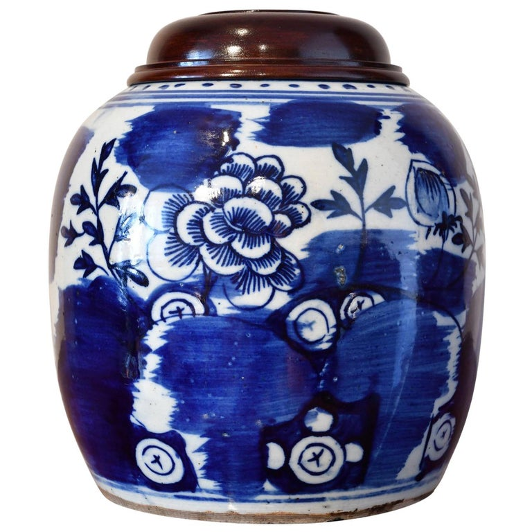 18th Century Qing Chinese Porcelain Cobalt Blue and White Jar with Peony For Sale