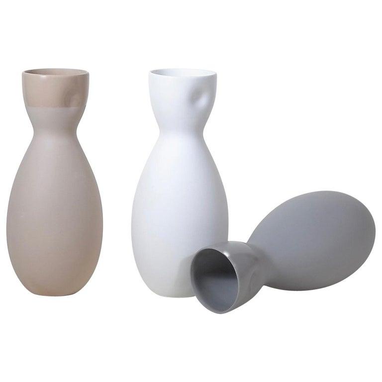 Dimpled Porcelain Carafe in Matte Steel Grey