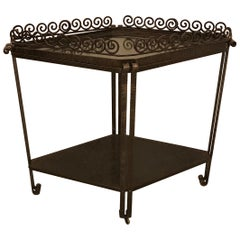 French Art Deco Diamond Accent Table or Cart