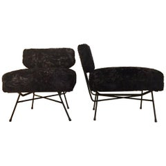 Elettra, 1956 Mid-Century Modern Italian Black Fur Armchair Set, BBPR Arflex