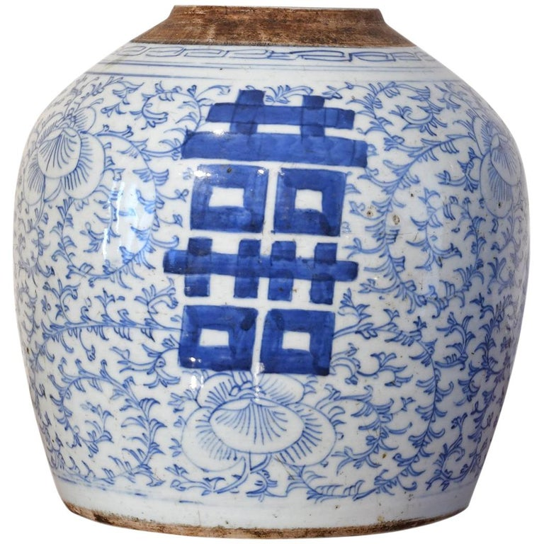 18th Century Chinese Porcelain Blue and White Shuang-xi Jar For Sale