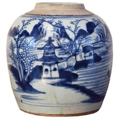 19th Century Chinese Porcelain Blue & White Jar w/ Hand-Painted Lighthouse Scene