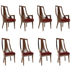 Set of 8 Tall Back Walnut Chairs