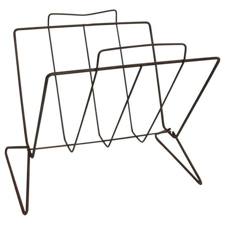 Mid-Century Modern Sculptural Iron Magazine Rack, Nelson Era For Sale