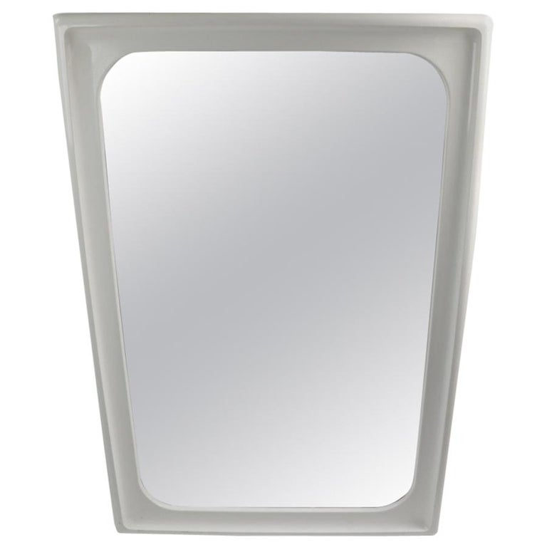 Mod White Lacquer Framed Mirror For Sale