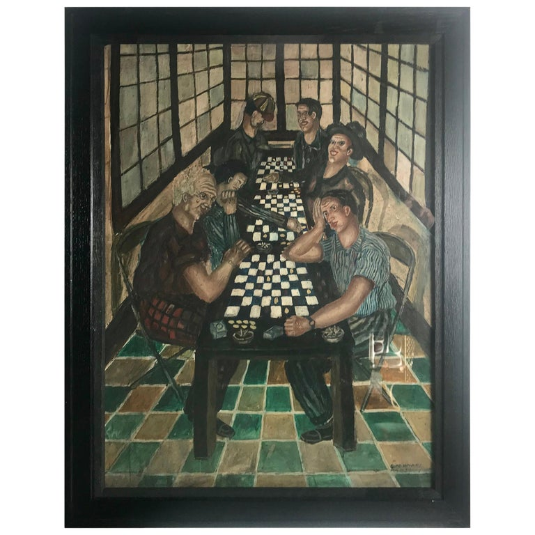 "Large Oil on Board Painting ""Checkers"" by Elmo Howard For Sale"