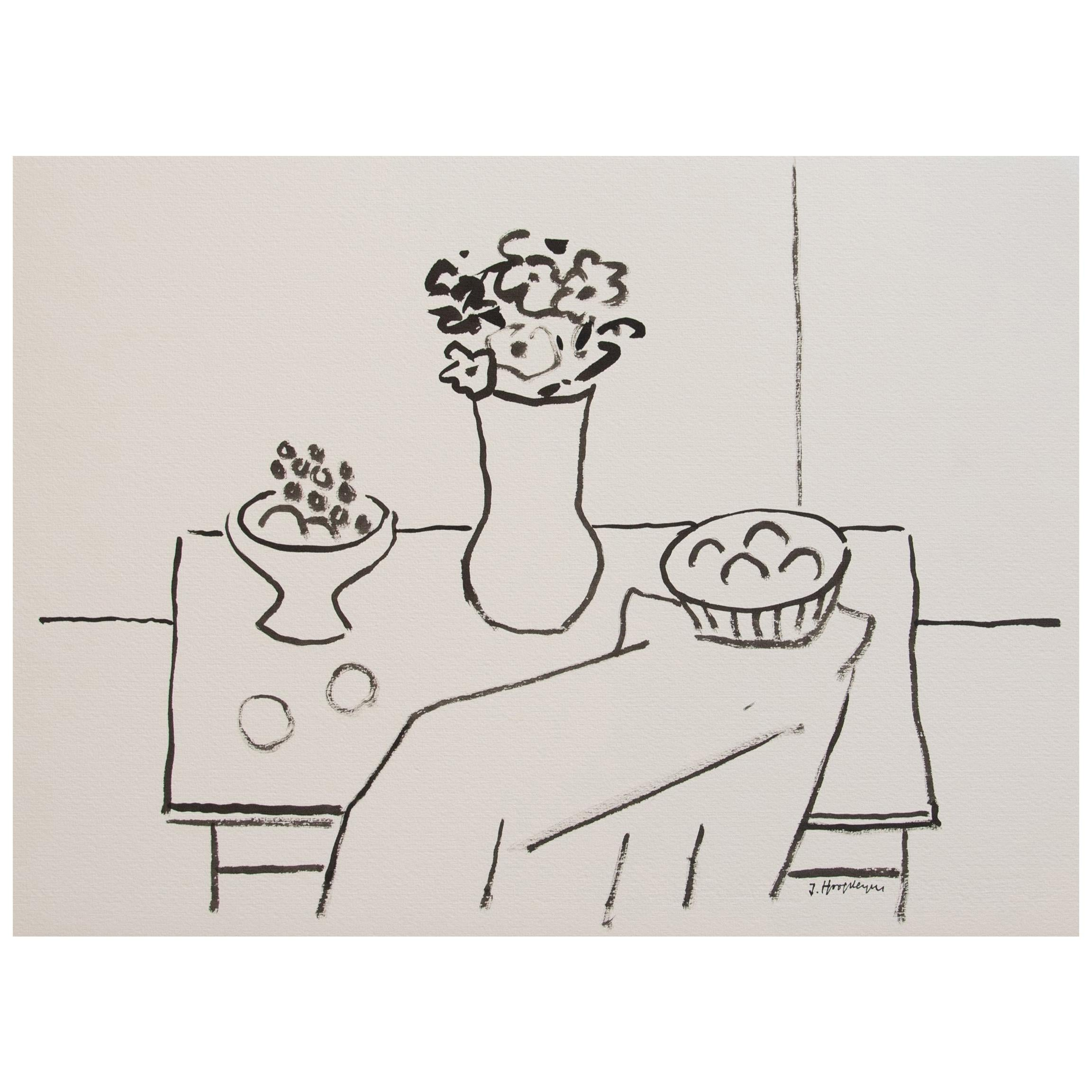 Still Life Unframed Drawing in Ink 100% Cotton Paper Black White Intimist