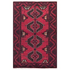 Persian Hand Knotted Red Tribal Baluchi Rug, circa 1960