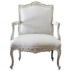 Antique Louis XV Style French Painted and Upholstered Open Arm Chair