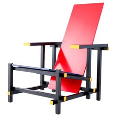 Red Blue Armchair by Gerrit Rietveld for Cassina, Signed 1996 Production