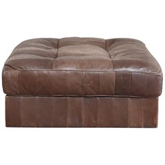 De Sede DS 88 Leather Ottoman or Pouf Patchwork Brown