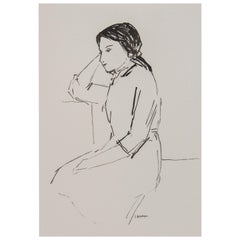 Resting Woman Portrait Unframed Drawing Ink 100% Cotton Paper Black White