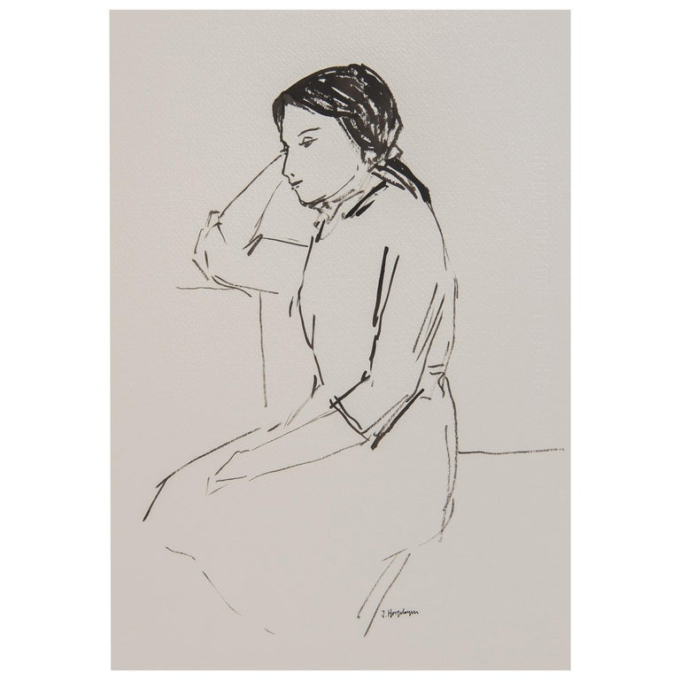Resting Woman Portrait Unframed Drawing Ink 100% Cotton Paper Black White  For Sale