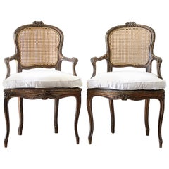 Pair of Antique French Cane Back Open Armchairs with Custom Linen Cushions