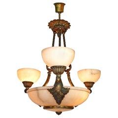 Französische Art Deco Jugendstil klassizistischen Marmor, Gold und Bronze Farbe Kronleuchter