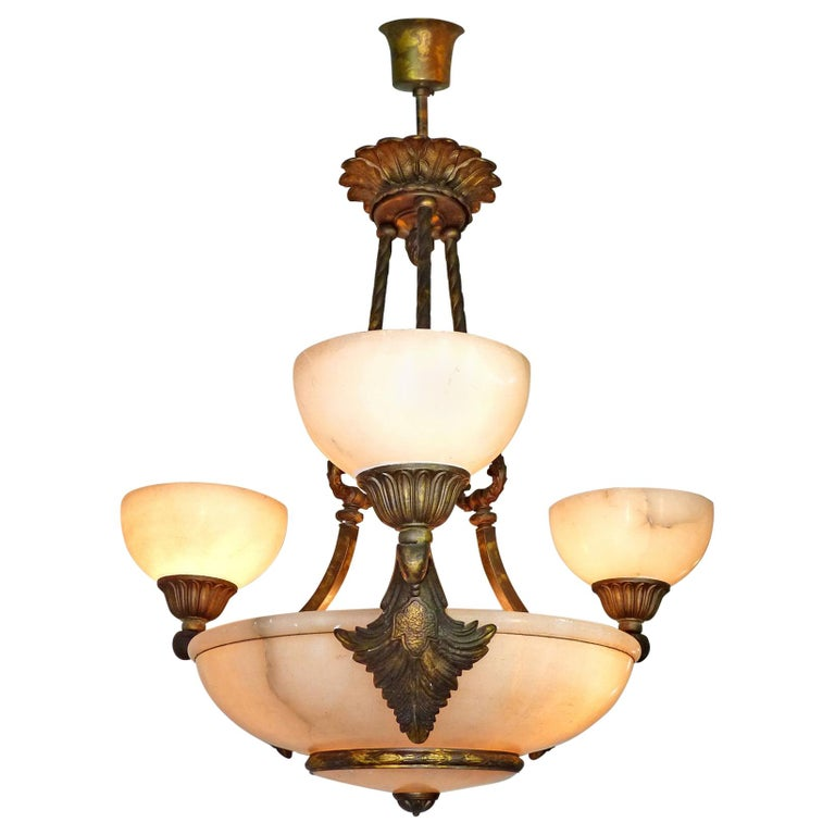 hot sale online 67287 bfbd6 French Art Deco Art Nouveau Neoclassical Marble, Gold & Bronze Color  Chandelier
