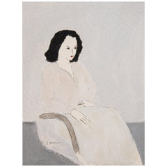 Sitting Woman Portrait Unframed Drawing in Acrylic 100% Cotton Paper