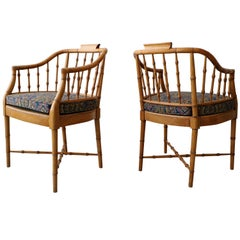 Pair of Vintage Bamboo Regency Chippendale Chinoiserie Style Side Accent Chairs