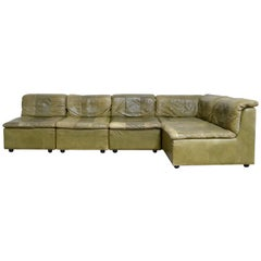 Dreipunkt International Leather Patchwork Sofa Module Olive Green