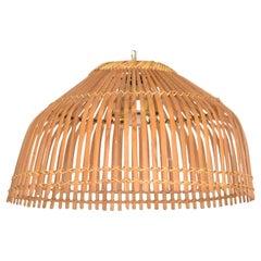 Mid-Century Modern Rattan Pendant Ceiling Hanging Lamp, after Franco Albini