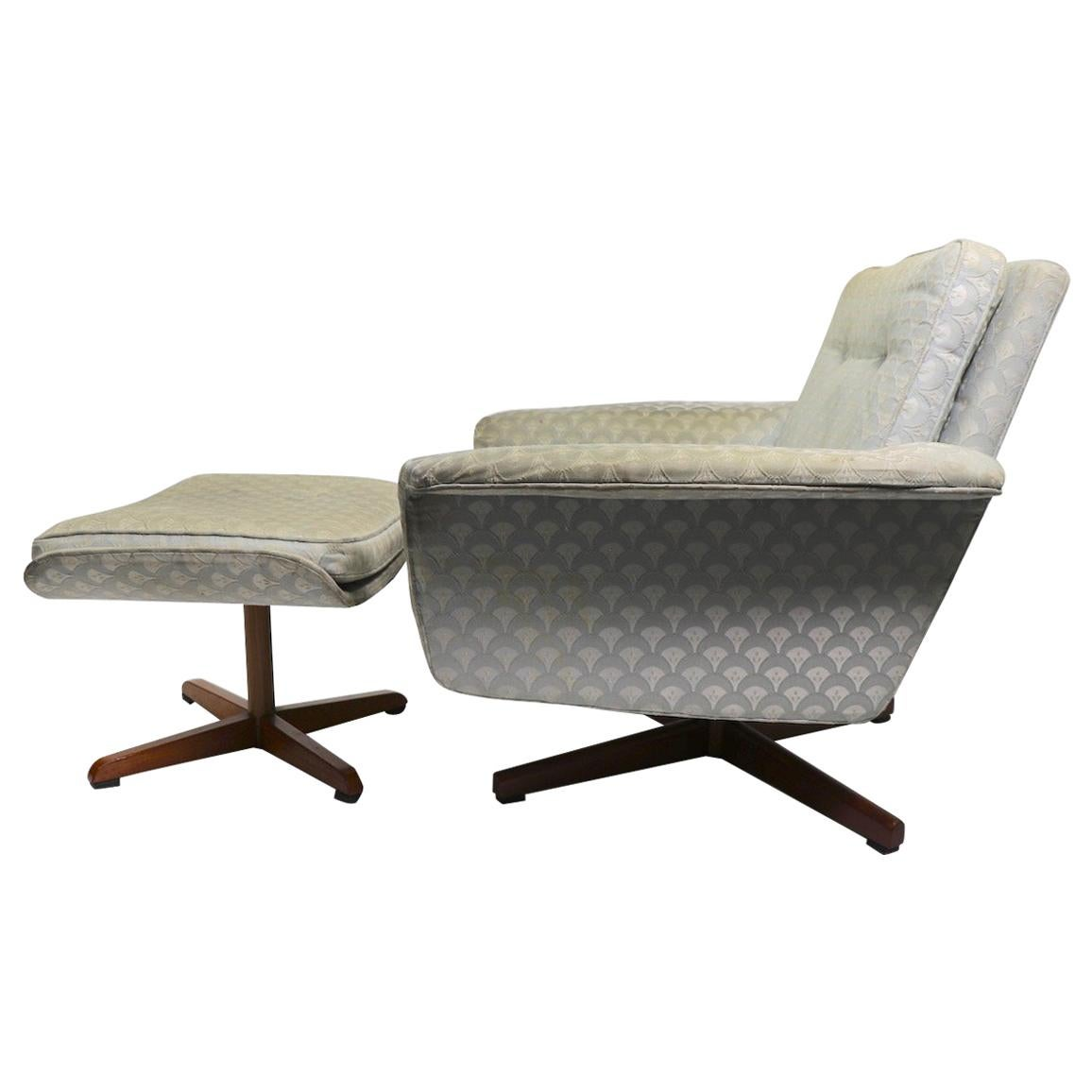 Danish Modern Swivel Chair and Ottoman Attributed to DUX