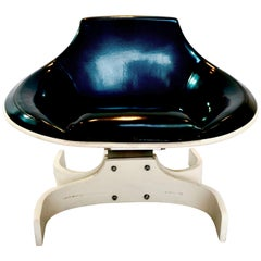 Stella 1001, Midcentury Iridescent Blue Chair, Joe Colombo, Italian 1965