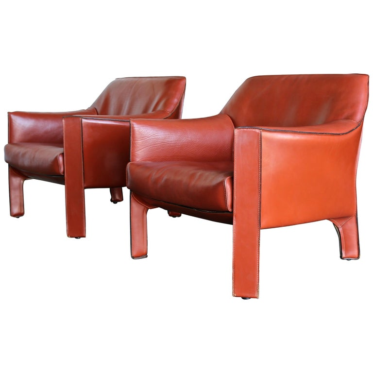 Pair of Large CAB Lounge Chairs by Mario Bellini for Cassina For Sale
